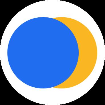 FreedomXX logo blue and gold circles